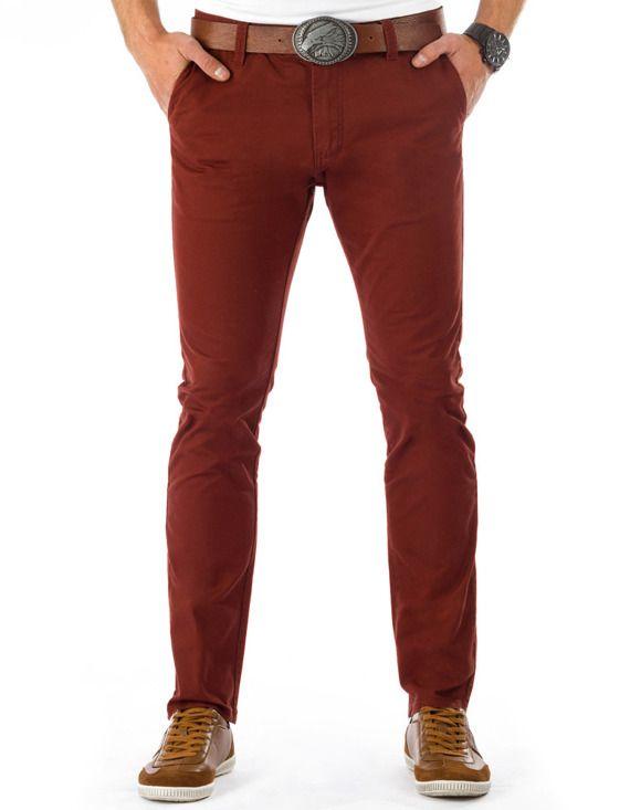 bordowe spodnie chinosy